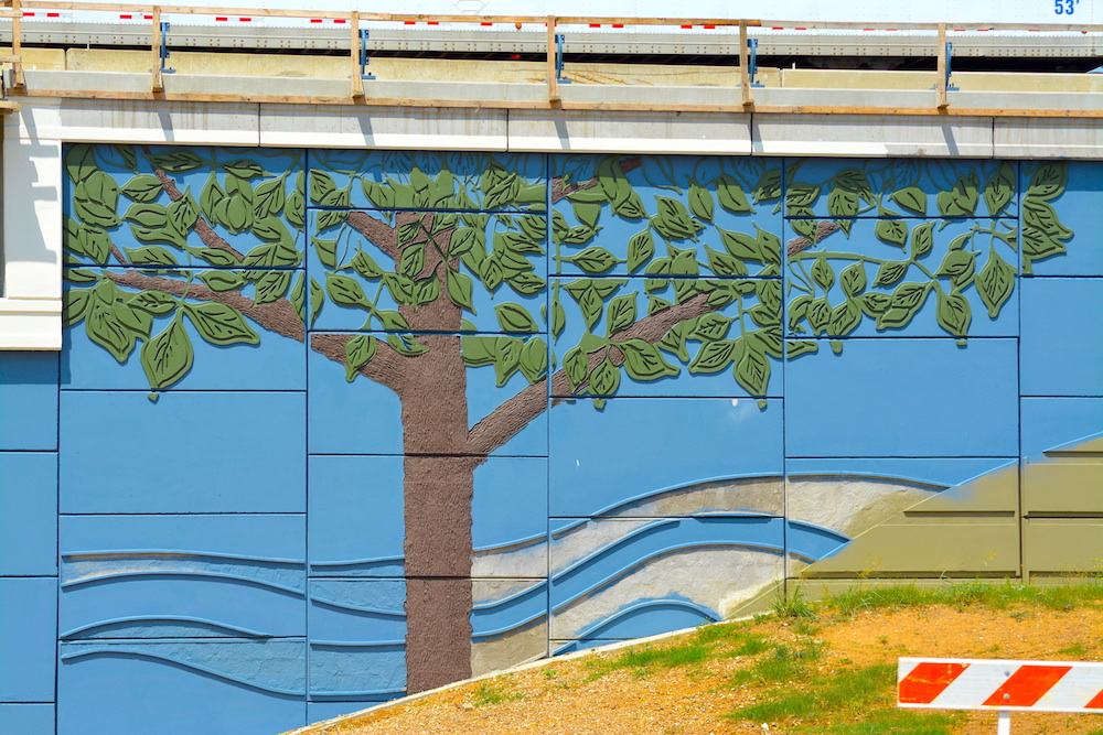 Hickoree Tree Highway Mural using Concrete Formliners