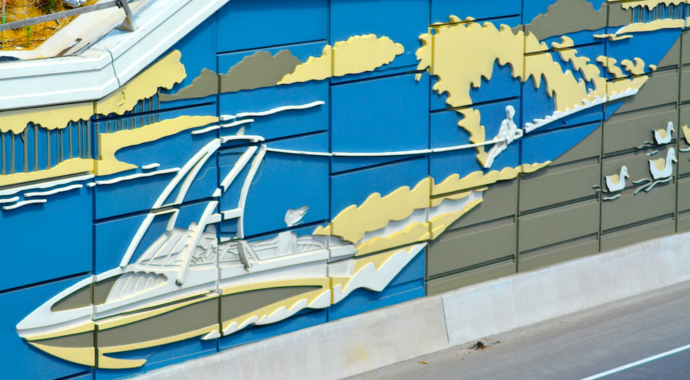 Waterski Highway Mural using Concrete Formliners